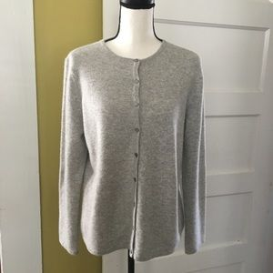 100% Cashmere Gray Button Cardigan Sweater L